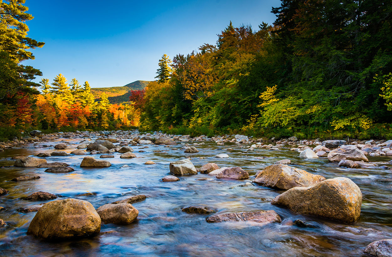 Autumn color along the Swift River, along the Kancamagus Highway in White Mountain National Forest, New Hampshire