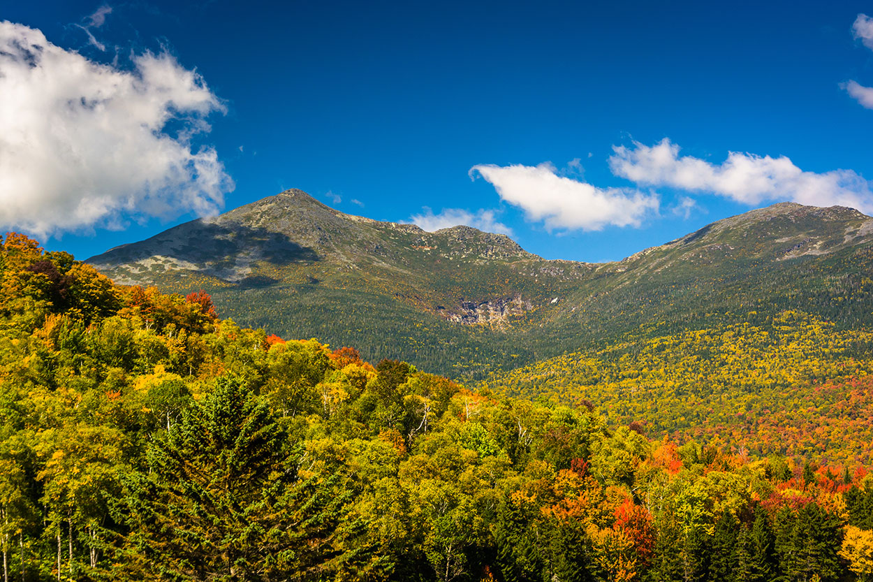 Autumn color and view of the Presidential Range in White Mountain National Forest, New Hampshire.
